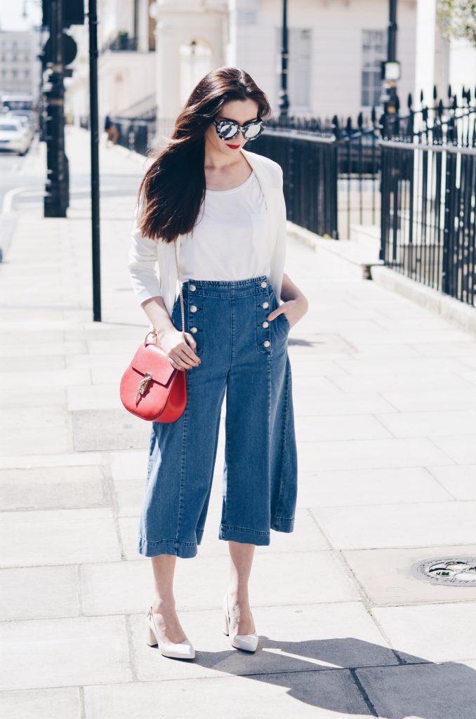 Culottes: Topshop   T-shirt: Topshop   Heels: Topshop   Jacket: H&M   Sunglasses: Le Specs   Bag: Chloe